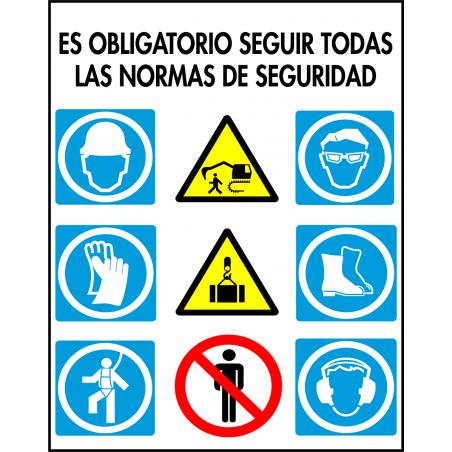 Cartel Multiuso - Es Obligatorio Seguir Todas Las Normas de Seguridad