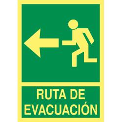 Cartel Fotoluminiscente Ruta de Evacuación - Flecha Izquierda