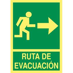 Cartel Fotoluminiscente Ruta de Evacuación - Flecha Derecha