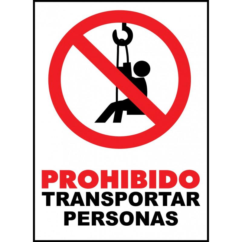 Cartel Prohibido Transportar Personas - Elevador