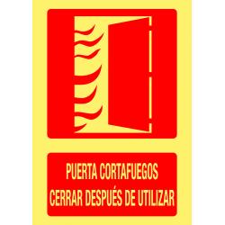 Cartel Fotoluminiscente Puerta Cortafuegos - Cerrar Después de Utilizar
