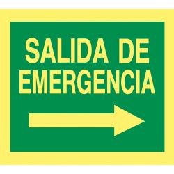 Cartel Fotoluminiscente Salida de Emergencia - Derecha