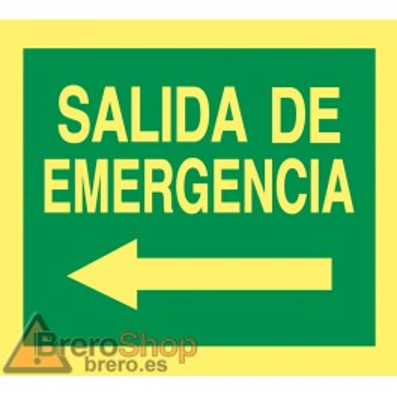 Cartel Fotoluminiscente Salida de Emergencia - Izquierda