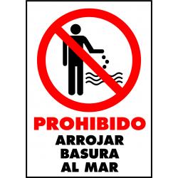 Cartel Prohibido arrojar basura al mar