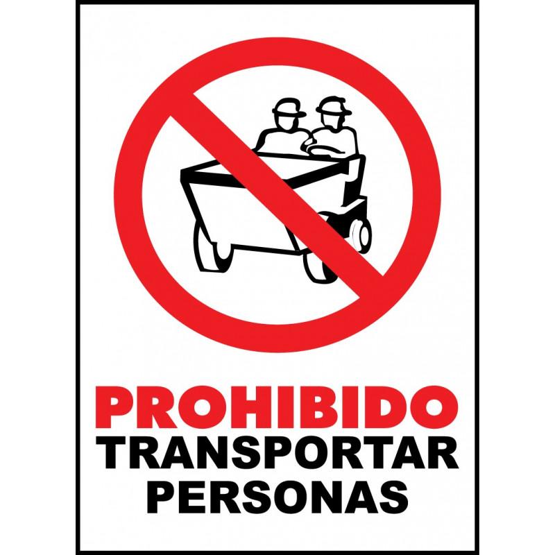 Cartel Prohibido Transportar Personas - Dumper