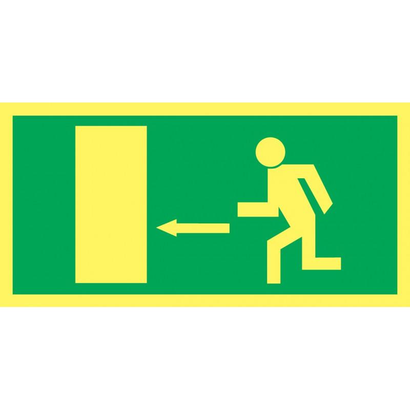 Cartel Fotoluminiscente Salida de Emergencia. Flecha, Izquierda