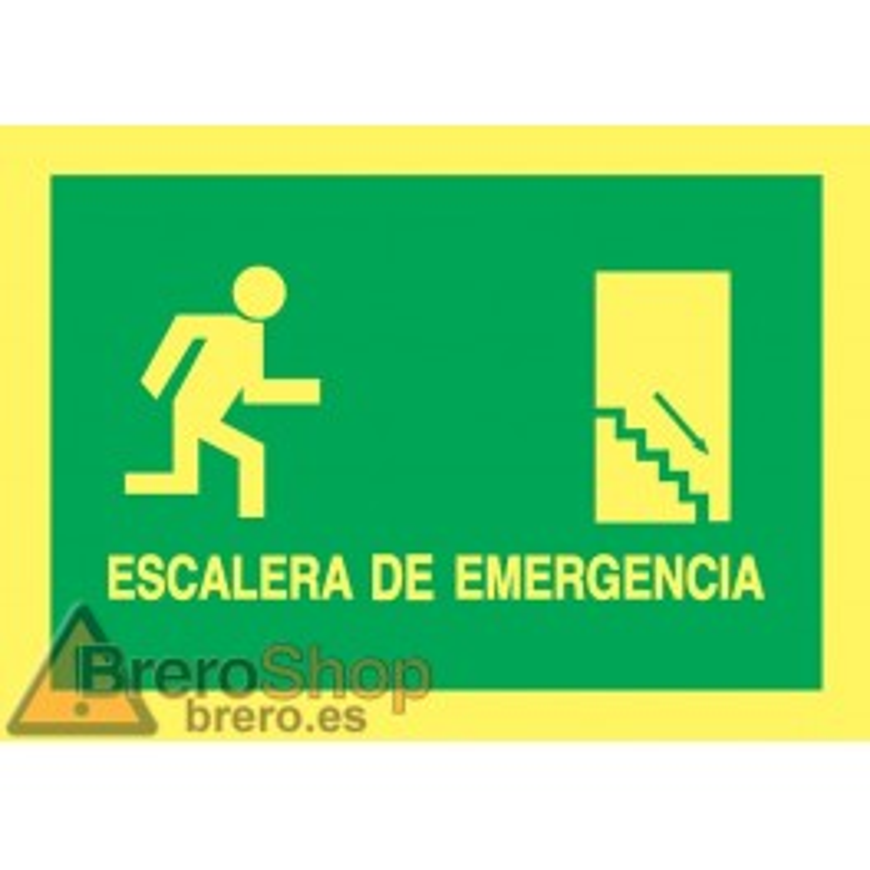Cartel Fotoluminiscente Escalera de Emergencia con texto Derecha. Piso Inferior, indicado