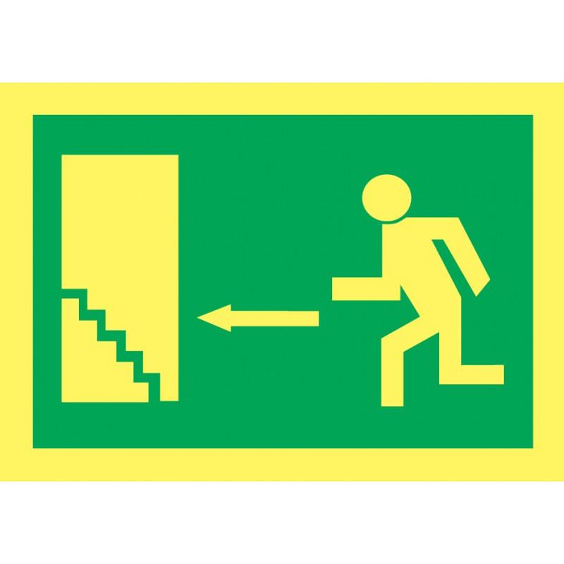 Cartel Fotoluminiscente Escalera de Emergencia. Flecha, Izquierda. Piso Superior