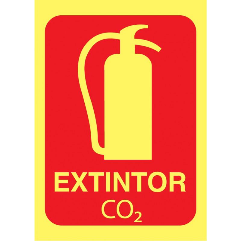 Cartel Fotoluminiscente Extintor CO2