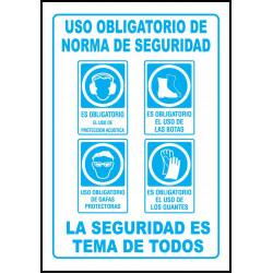 Cartel Uso Obligatorio de Normas de Seguridad - Acústica, Botas, Gafas, Guantes