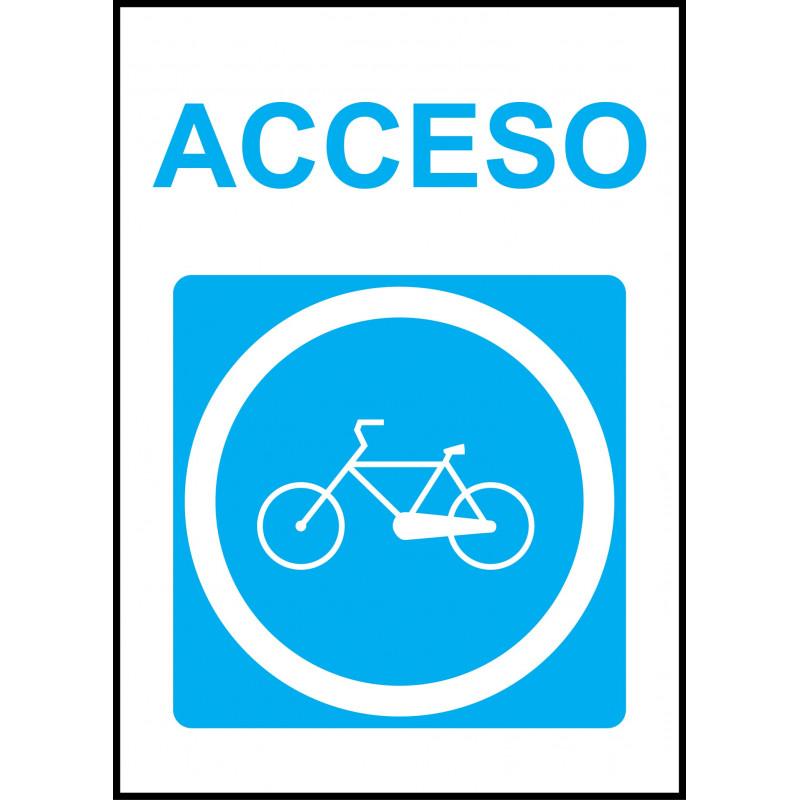 Cartel Acceso Obligatorio Bicicletas
