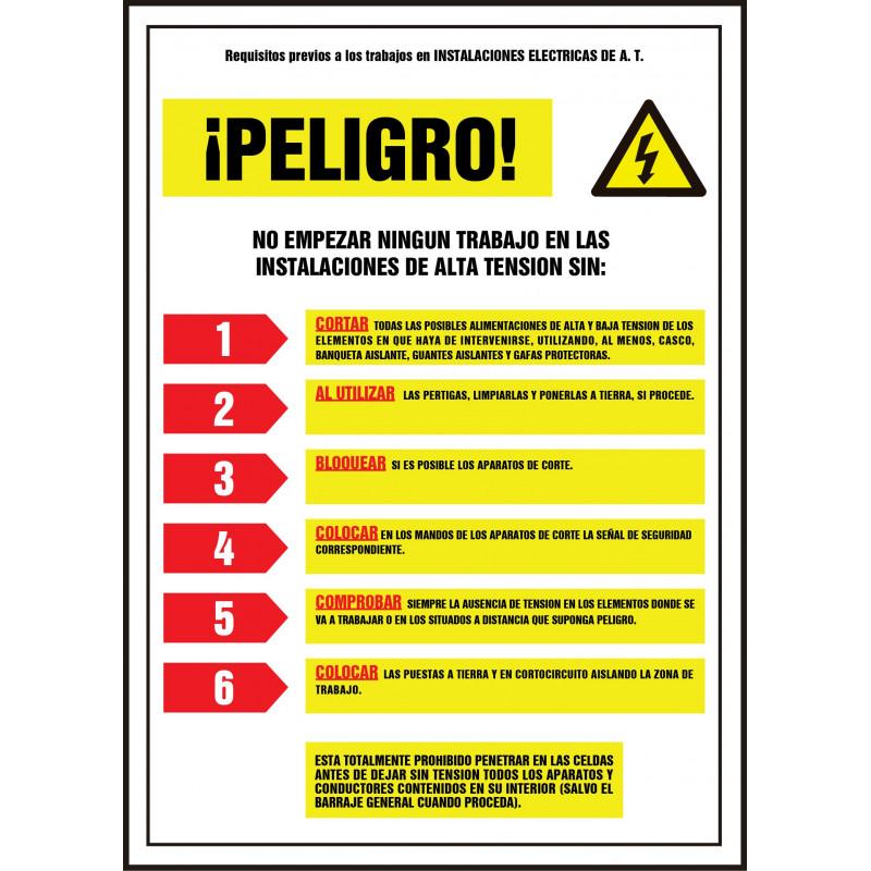 Cartel Requisitos Previos Trabajos Instalaciones Eléctricas de A.T.