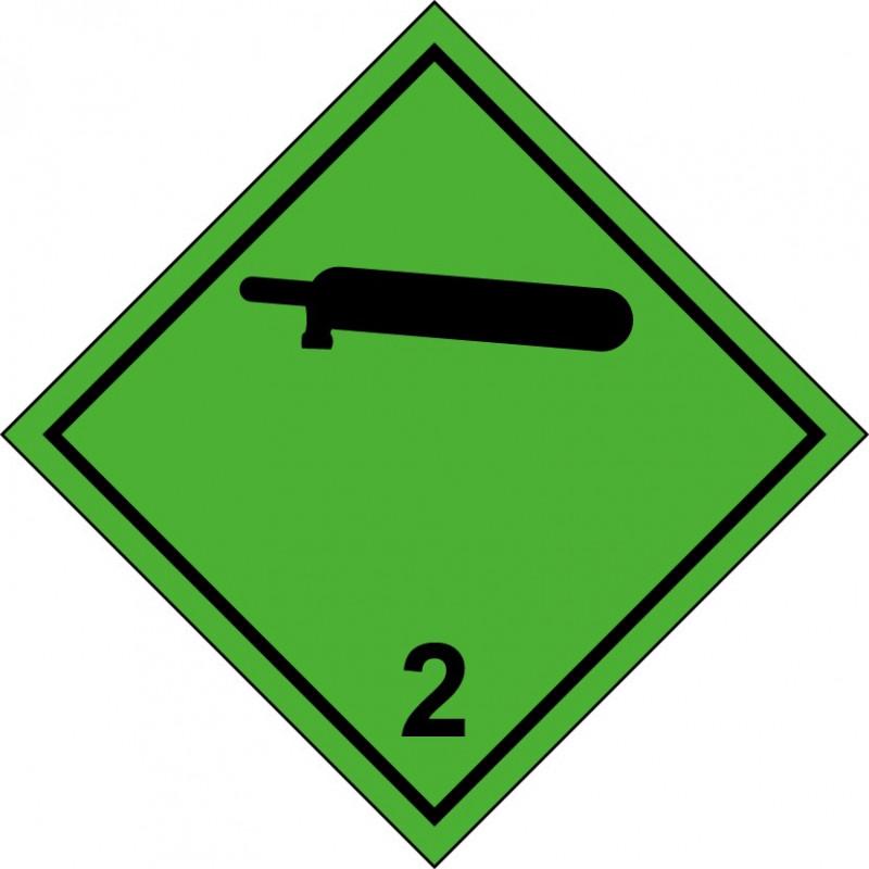 Peligro de Clase 2.2 - Señal Gases No Inflamables, No Tóxicos