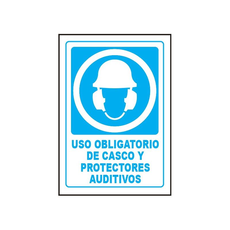 Cartel Uso Obligatorio de Casco y Protectores Auditivos