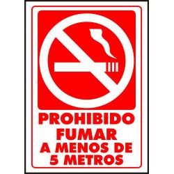 Cartel Prohibido Fumar a Menos de 5 Metros