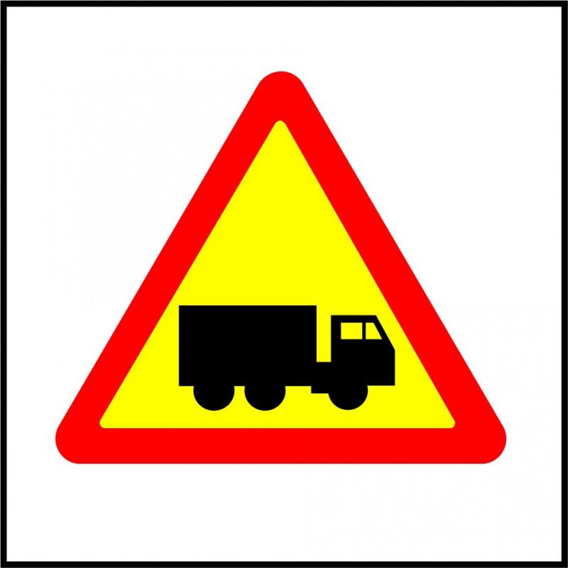 Cartel Polipropileno - Entrada y Salida de Camiones por Obras
