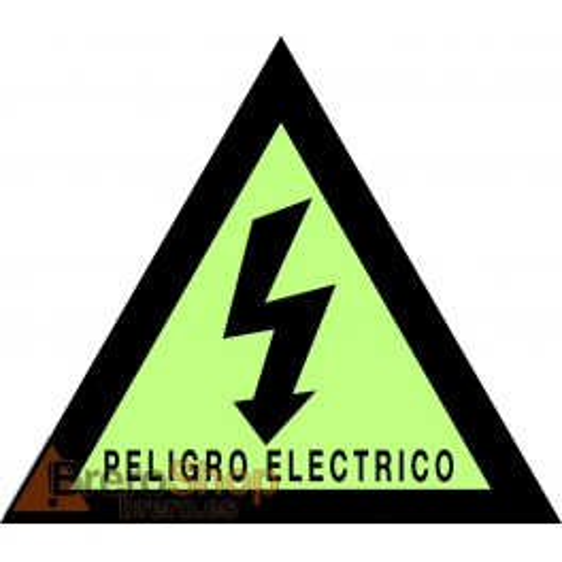 Pegatina Fotoluminiscente Triángulo Peligro Eléctrico