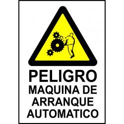 Cartel Peligro Maquina de Arranque Automático - Riesgo de Atrapamiento