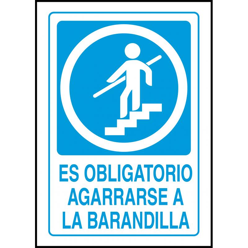 Cartel Es Obligatorio Agarrarse a la Barandilla