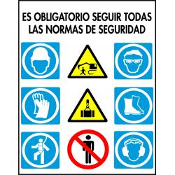 Cartel Multiuso - Es Obligatorio Seguir Todas Las Normas de Segurdad