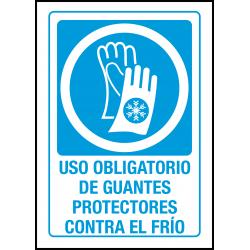 Cartel Uso Obligatorio de Guantes Protectores Contra el Frío
