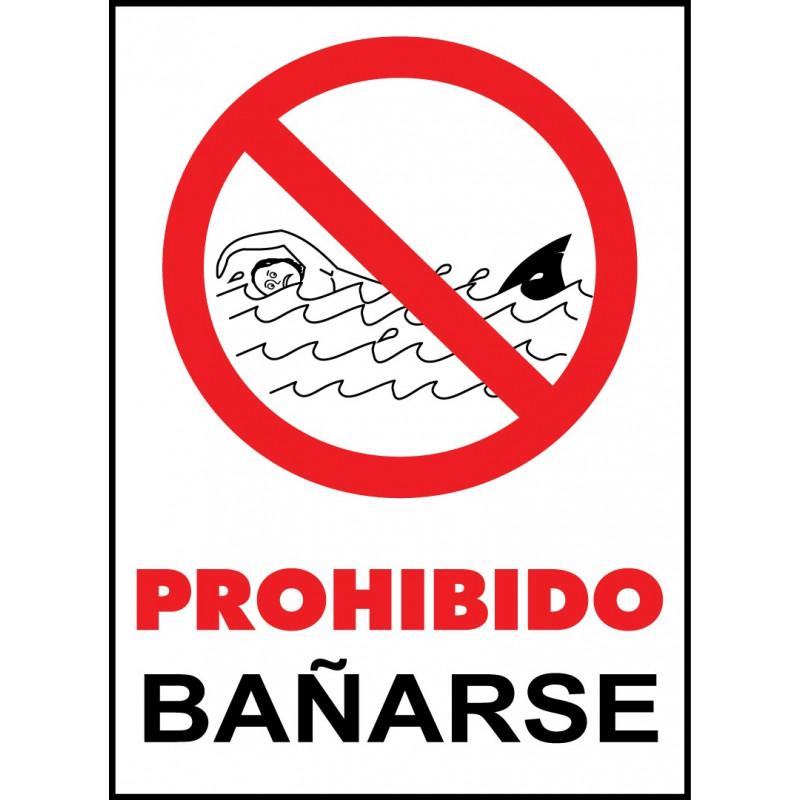 Cartel Prohibido Bañarse - Mar