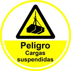 Señal Antideslizante para Suelo - Peligro cargas suspendidas