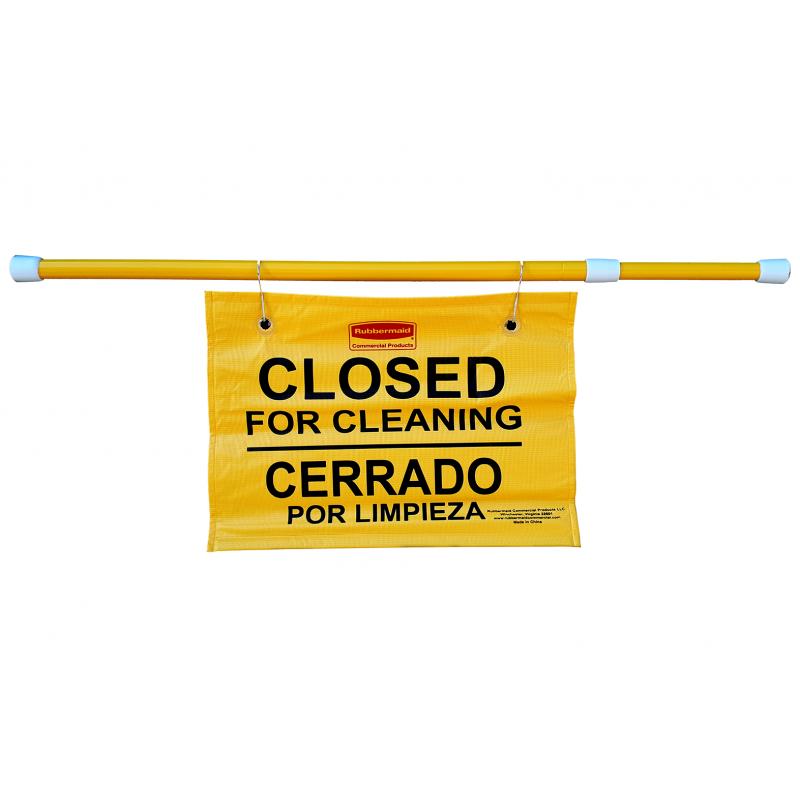 Cartel de seguridad colgante multilingüe - Cerrado por limpieza
