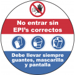 Adhesivo Suelo Circular No Entrar sin EPI's