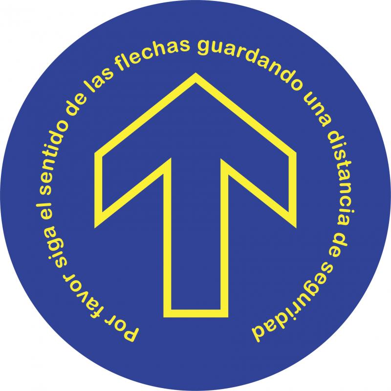 Adhesivo Suelo Circular Por favor siga el sentido de las flechas guardando una distancia de seguridad