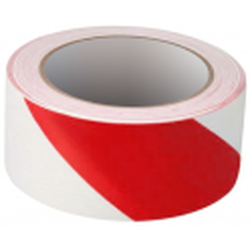 Cinta Adhesiva Señalización temporal - 33m x 50mm - Rojo Blanco