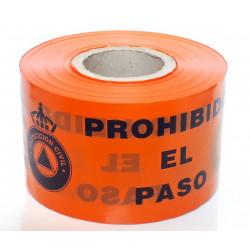 Rollo Cinta de Señalización Protección Civil - Prohibido el Paso 250m. - 10cm