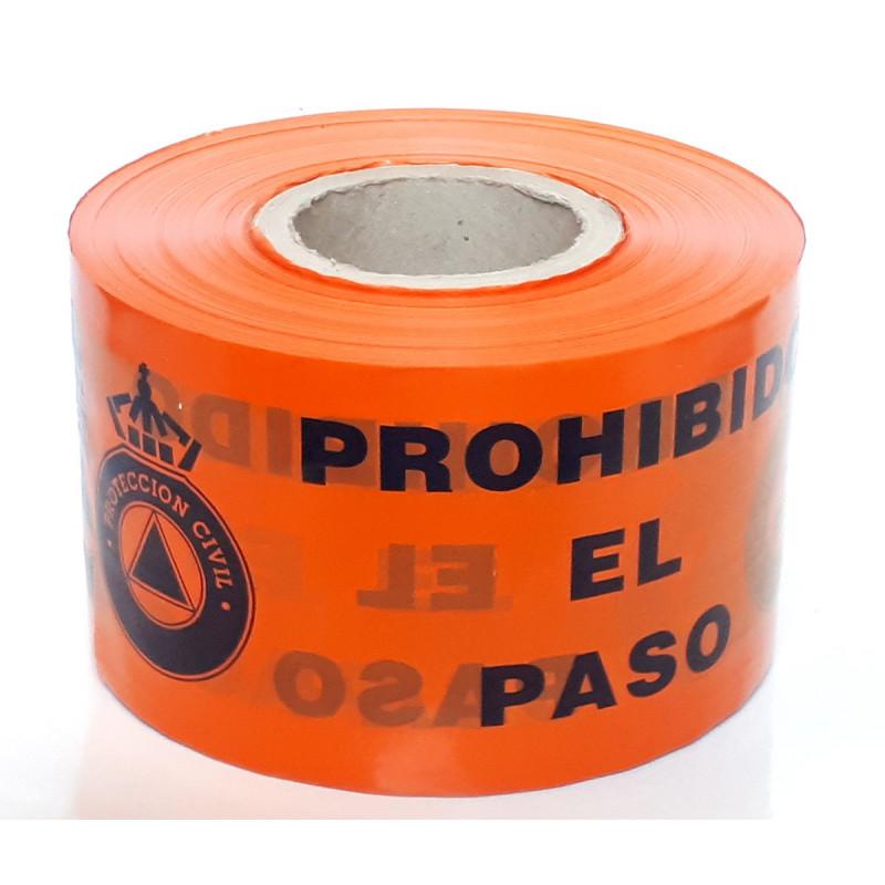 Rollo Cinta de Señalización Protección Civil - Prohibido el Paso 250m - 10cm