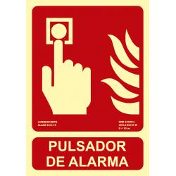 Señal Fotoluminiscente Pulsador de Alarma UNE 23035 - Tamaño A4
