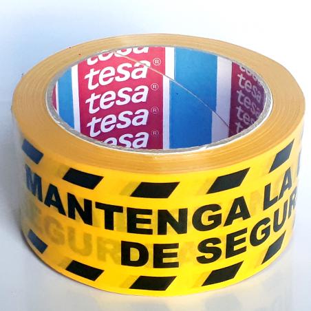 Cinta Adhesiva Señalización - Mantenga la distancia de seguridad - 33m x 50mm - Amarillo Negro