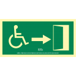 Señal Fotoluminiscente Ruta de Evacuación Minusválidos UNE 25035/4 - Derecha
