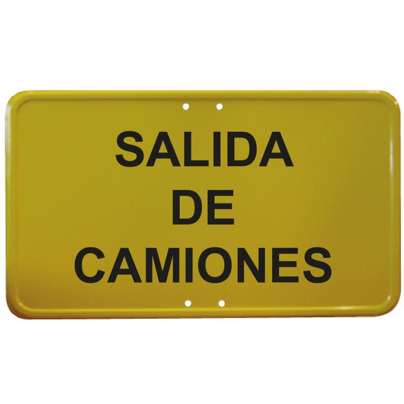 Señal Metálica Vial Salida de Camiones - Amarillo