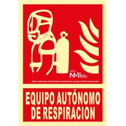 Cartel Equipo Autónomo de Respiración UNE 23035 - Tamaño A4