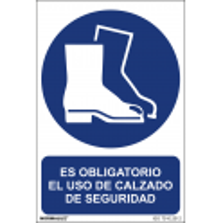 Cartel ES OBLIGATORIO EL USO DE CALZADO DE SEGURIDAD ISO 7010:2012 - Tamaño A4