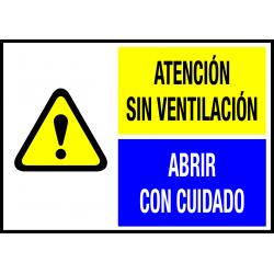 Peligro de Clase 2 - Placa Atención. Sin Ventilación. Abrir con Cuidado