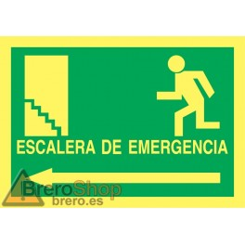 Cartel Fotoluminiscente Escalera de Emergencia con texto. Flecha, Izquierda. Piso Superior