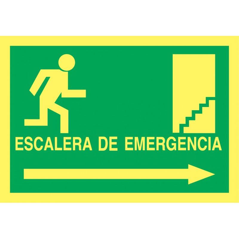 Cartel Fotoluminiscente Escalera de Emergencia con texto. Flecha, Derecha. Piso Superior