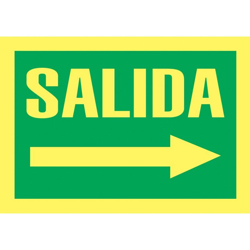 Cartel Fotoluminiscente Salida - Flecha Derecha