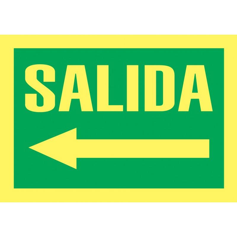 Cartel Fotoluminiscente Salida - Flecha Izquierda
