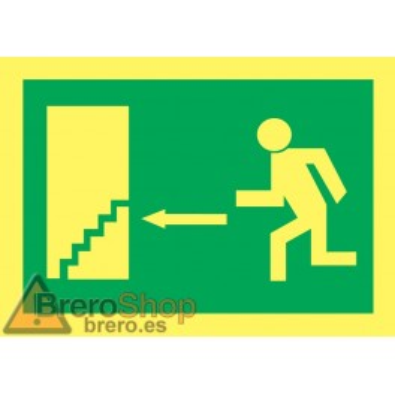 Cartel Fotoluminiscente Escalera de Emergencia. Flecha, Izquierda. Piso Inferior