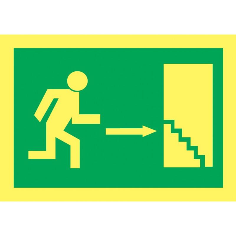Cartel Fotoluminiscente Escalera de Emergencia. Flecha, Derecha. Piso Inferior