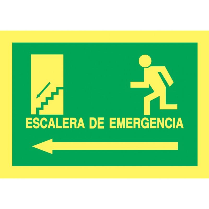 Cartel Fotoluminiscente Escalera de Emergencia con texto. Flecha, Izquierda. Piso Inferior, indicado