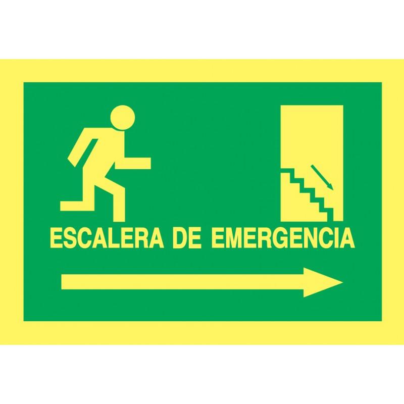 Cartel Fotoluminiscente Escalera de Emergencia con texto. Flecha, Derecha. Piso Inferior, indicado