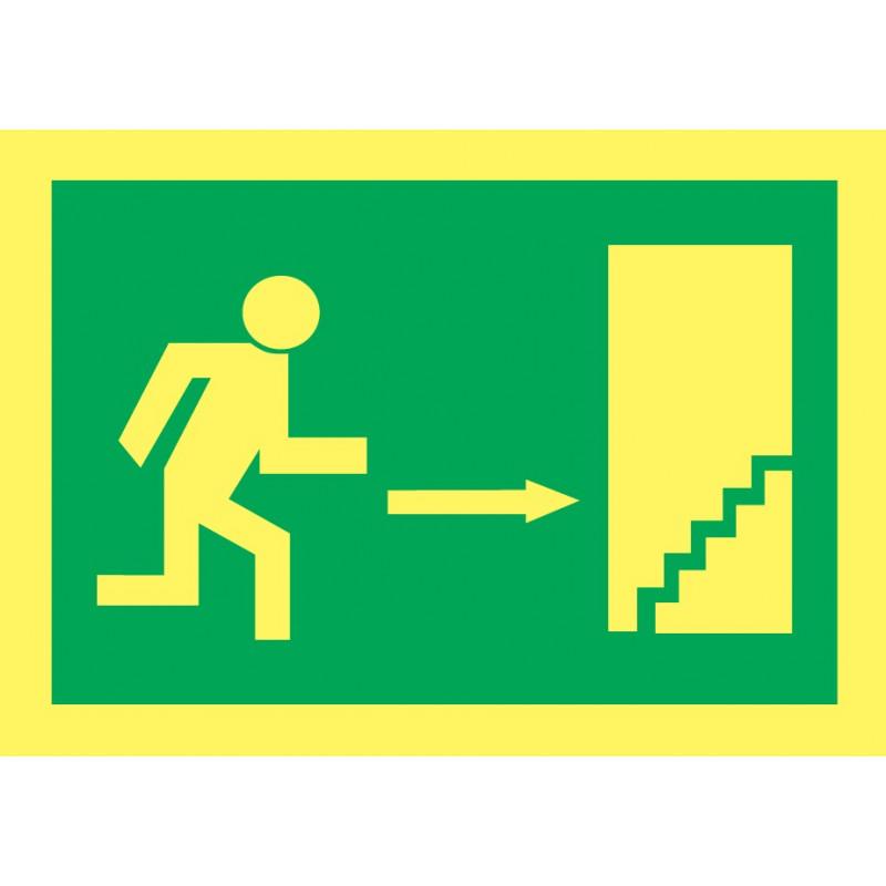 Cartel Fotoluminiscente Escalera de Emergencia. Flecha, Derecha. Piso Superior