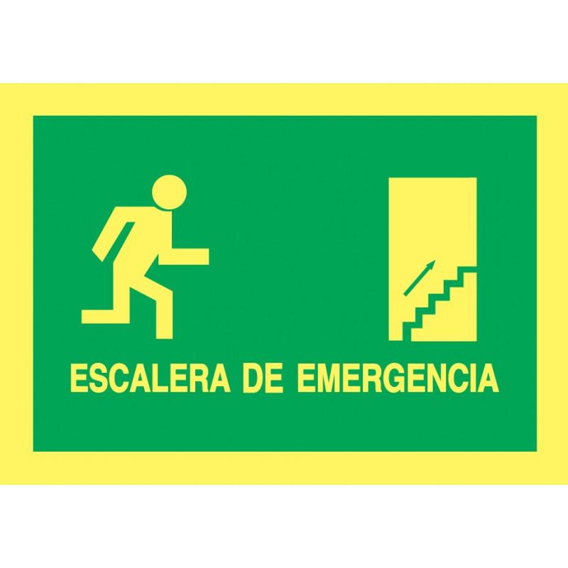 Cartel Fotoluminiscente Escalera de Emergencia con texto Derecha. Piso Superior, indicado